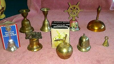 Lot of 9 Brass and Metal Bells - Liberty, Candle Stand, Apple, Ships Wheel