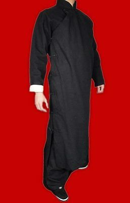 Premium Linen Black Kung Fu Martial Arts Tai Chi Long Coat Robe XS-XL Tailor