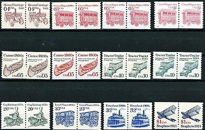 4th Transportation Series Set of 12 Pairs MNH Scott's from 2451 to 2468 See List