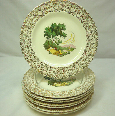 "American Limoges French Chateau Salad Plates 7"" Set of 8 Warranted 22kt Trim"