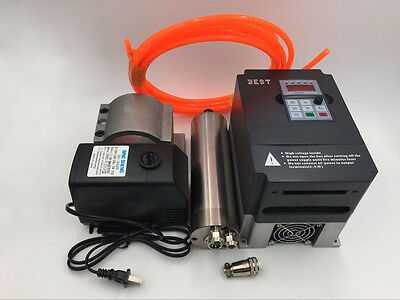 2.2KW ER20 Water-cooled Spindle Motor 4 Bearings & VFD Inverter Driver CNC Kit
