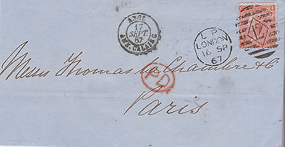 1867 QV LONDON WRAPPER WITH ULTRA FINE 4d VERM STAMP MAILED TO PARIS FRANCE =12=