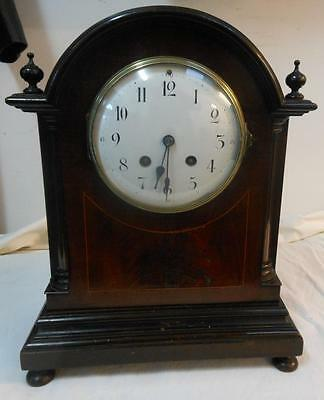 french mahogany line inlaid mantle clock