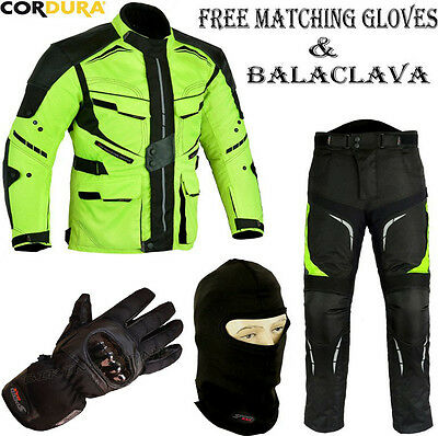 FULL HiViz MENS CE WINTER MOTORBIKE / MOTORCYCLE TEXTILE JACKET TROUSERS SUIT