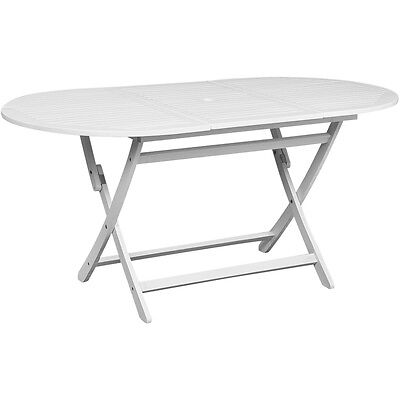 Oval Acacia Wood Outdoor Dining Table White Foldable Garden Patio Furniture