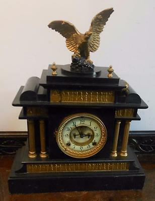usa visible escapement striking slate  clock c1900s