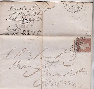 1854 QV ENTIRE EARLY INDIA STREET EDINBURGH SCOTS LOCAL ON 1d PENNY RED STAMP