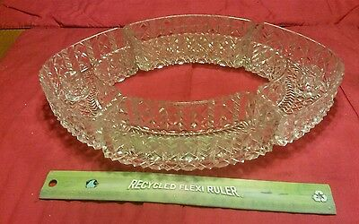 VINTAGE Clear, heavy, glass, 4 pc OVAL SERVING DISH & CANDLE HOLDERS centerpiece