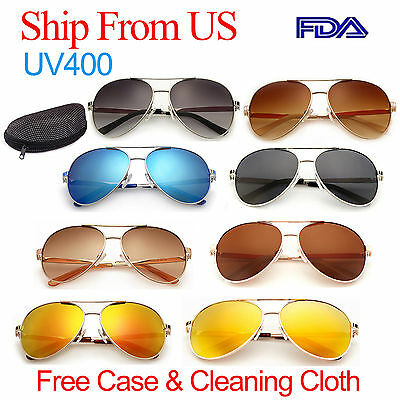 Retro Aviator Polarized Sunglasses for Men Women Mirror Glasses Driving FDA