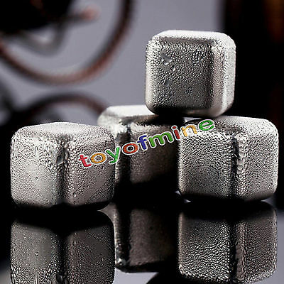 4x Reusable Stainless Steel Whiskey Wine Stones Ice Cubes