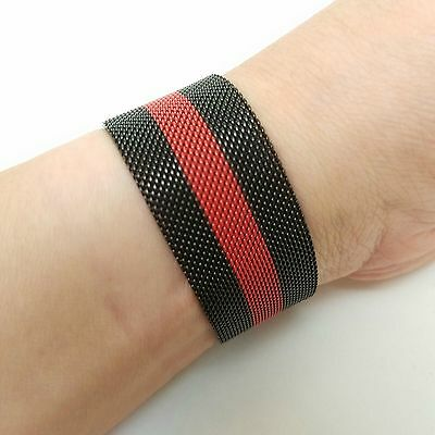 New Black Red Milanese Magnetic Loop Stainless Watch Band For Apple iWatch 42mm