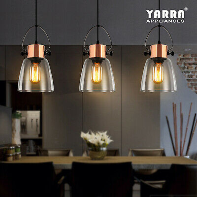 Industrial Clear Glass Pendant Light Vintage Lamp Copper Fitting Chandelier