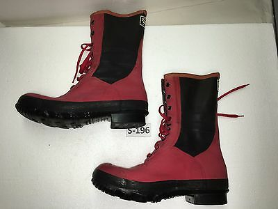 BF Goodrich Men's Red/Black Rubber Lace Up Rain Boots Size 12/13 #S-196