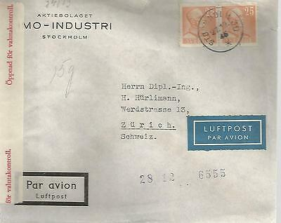 Sweden 1945 Cover From Stockholm To Zurich With Censor Markings 562