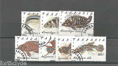 Tanzania 1992 FISHES USED SET OF SEVEN  REF 867