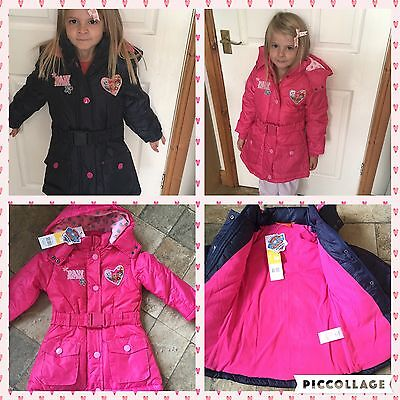 OFFICIAL PAW PATROL GIRLS WINTER JACKET/COAT , PINK AND NAVY BLUE 2-7 yrs