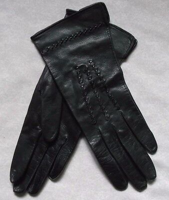 WOMENS SHORT LEATHER GLOVES VINTAGE 1960s 1970s BLACK ENGLISH MAKE SIZE 6.5