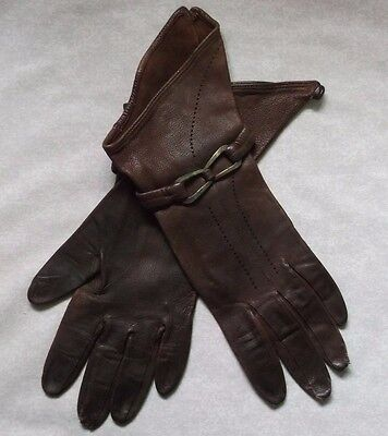 WOMENS LEATHER GLOVES GAUNTLETS VINTAGE 1960s 1970s AGED BROWN MEDIUM SIZE 7 7.5
