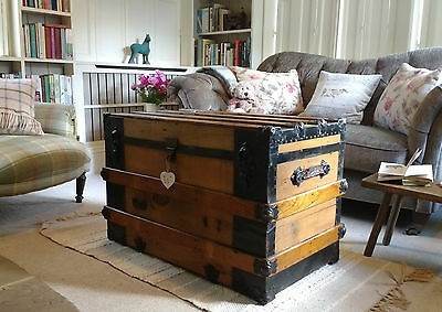 VINTAGE TRUNK Luggage COFFEE TABLE Antique Travel Trunk LINEN BOX Blanket Box