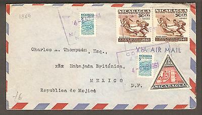 Nicaragua 4 January 1951 Air Mail Cover Managua to British Embassy, Mexico City