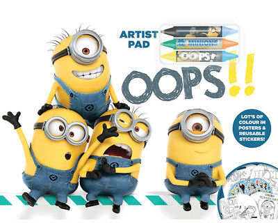 Despicable Me Artist Pad Stickers Crayons Back to School  Gift Party Bag Filler