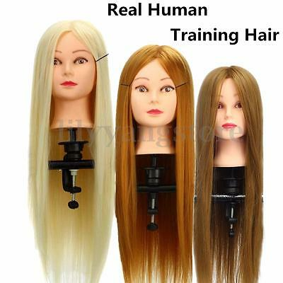 """New 26"""" Real Human Hair Hairdressing Training Head Cosmetology Mannequin + Clamp"""