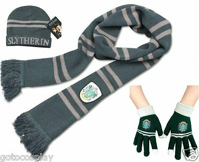 Harry Potter Slytherin Thicken Knit Warm Scarf +Cap/Hat + Gloves Costume Gift