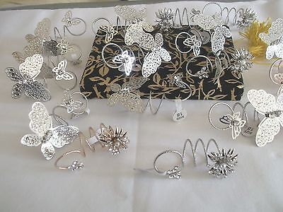 Job Lot New 18 Over Sized Crystal  Butterfly Flower  Rings,fair.market,car Boot