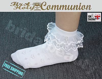 Flower Girls Frill Ankle Socks First Holy Communion Confirmation Pendant Cross