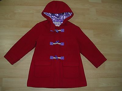 MARKS & SPENCER Girls RED Duffle Coat Hooded Jacket Toggles Age 3-4 104cm