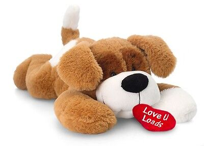 Brown & White Patch the Puppy Dog Soft Toy - Keel Toys - 25cm, Valentines