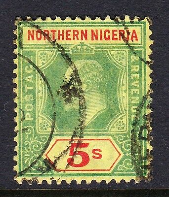 Northern Nigeria 1910-11 5/- Green & Red/ Yellow Sg 38 Fine Used.