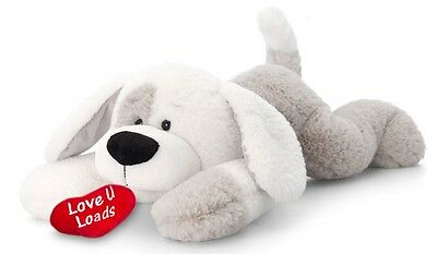 White & Grey Patch the Puppy Dog Soft Toy - Keel Toys - 25cm, Valentines