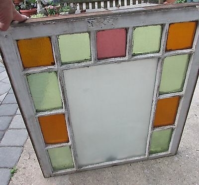 Antique Queen Anne Victorian Stained Glass Window, 28 by 31 Inches