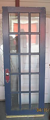 Antique 15 Pane Glass Exterior Door Painted Blue Approx 30 X 80