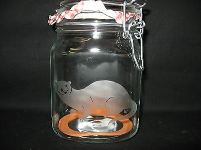 New Etched River Otter Glass Mason Storage Jar