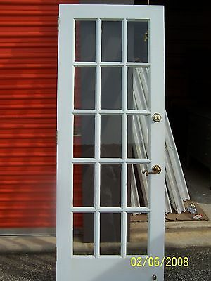 Antique 15 Pane Glass Exterior Door Approx 30 X 80