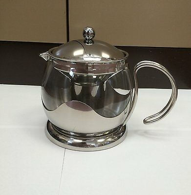 Stainless Steel Glass Swirl 4 Cup 1L Teapot with Infuser Filter Black Friday