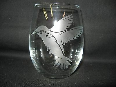New Etched Hummingbird Stemless Wine Glass Tumbler