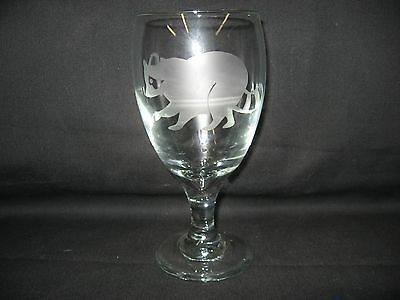 New Etched Raccoon Wine Water Goblet Glass