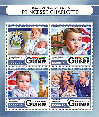 GUINEA REP. 2016 ** 1st Birthday Princess Charlotte M/S IMPERF. #417a