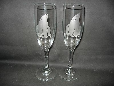 2 New Etched Polar Bear Glass Champagne Flutes