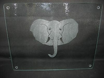 New Etched Elephant Tempered Glass Cutting Board