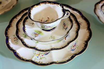 Antique George Jones Tea Set SUPERB Fluted Hand Painted Bird Of Paradise