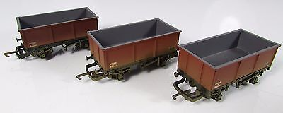 OO Gauge Hornby 3x BR Steel Mineral Wagons Weathered UNBOXED (R6155) (L1)