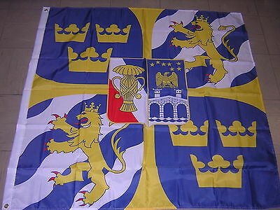 NEW Reproduced Personal Command Sign of the King of Sweden Ensign, 120X120cm