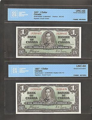 A Very Nice Pair Of 1937 $1 Bank Of Canada Graded Cccs Cu-63