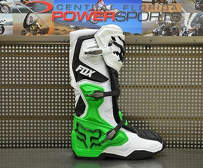 2017 Fox Racing Mens SE White Black Green Monster/PC Comp 8 MX Boots SIZE 11