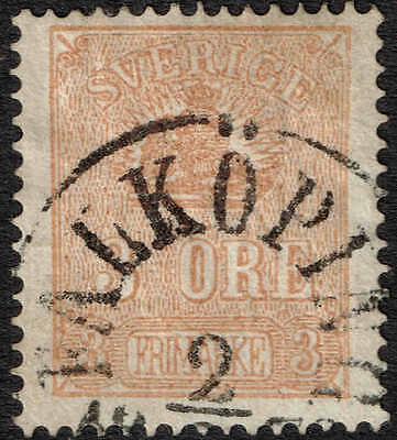 1862 3 ore  brown fine used but very scarce, most attractive. Facit 14b