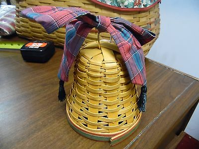 Longaberger, 2000 Noel Bell w/Plaid Bow and Green Tassles